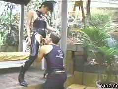 T-girl deborah in leather pounding horny stud down his throat