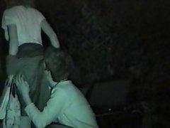 Public outdoor night oral sex