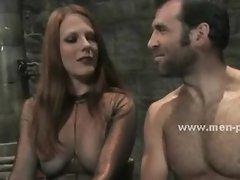 Kinky lady tests man sex slave