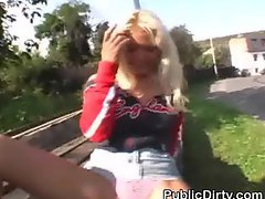 Blonde Amatuer Finger Banged Outdoors On Public Bench