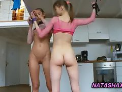 Natasha plays with tied up teen girlfriend