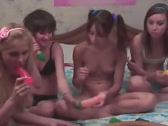 Four russian schoolgirls in live show