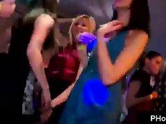 Strippers get their cocks polished by frisky drunken skanks