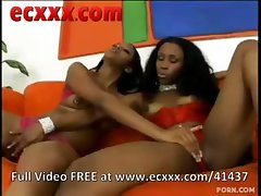 Two black lesbian lovers make love passionately on a red sofa