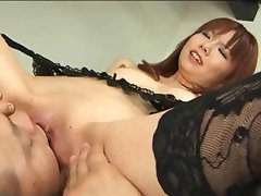 Hot redheaded Japanese chick gets licked and a pussy creampie