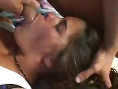 Hottie brunette tramp swallowed and gagged as she took my hard dick in her mouth