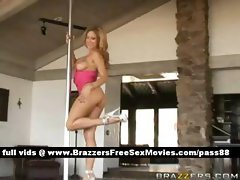 Sweet blonde babe at home dancing in front of her husband