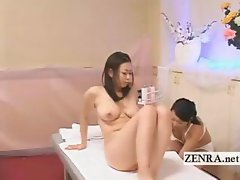 Sensual breast massage performed by Japan sauna lady