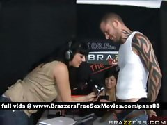 Two horny brunette chick at a radio station