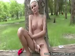 Tranny jerking off in the woods