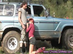 Real amateur outdoor blowjob couple