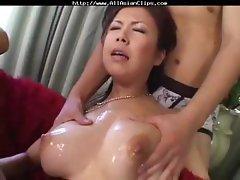 Busty Oriental MILF Asaoka eats three cocks and gets vibed in her hairy bush