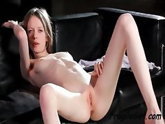 Skinny young cutie gets playful giving a hot show for the fans