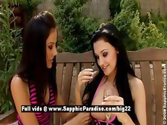 Anitta and Aletta superb lesbian brunettes have lesbian kissing in the garden
