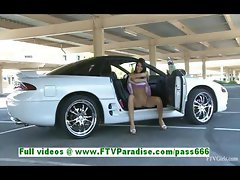 Racquel adorable brunette girl fingering pussy in a car