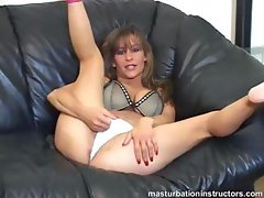 Jerk off teacher spreads legs and demos masturbation