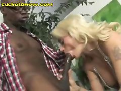 Maggie is a blonde harlot who makes her poor husband watch her suck a black cock