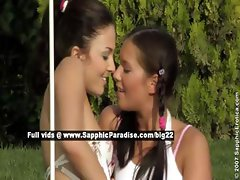 Billy and Isabella lovely lesbian teens teasing