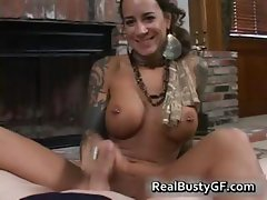 Round bigtits tattooed mom fireplace part1
