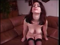 Young brunette amateur fingers her twat and uses a dildo