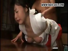 Asian girl is tied up and abused and has to suck his cock and fuck