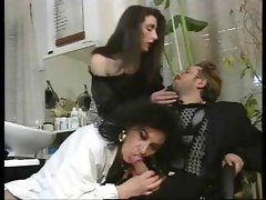 Mature Italian brunette teases a little wanker then they get interrupted by his wife