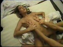 Horny girl banged on bed
