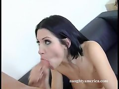 Sexy whore Rebecca Linares gets on her knees and sucks her studs meat