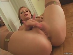 Carmen Gemini masturbates alone rubbing herself on the floor