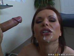 Sexy busty bitch Katja Kassin enjoys getting a face full of cum