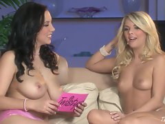 Big boobed Jelena Jensen and her friend gets naked in an interview
