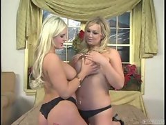 Abbey Brooks and her friend enjoy nipple tugging with each other