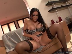 Audrey Bitoni fondles her juicy pussy with her nasty fingers