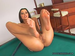 Sexy babe Hope Long shoes off her tight holes and sexy feet on a billiard table