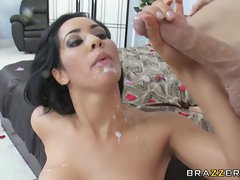 Cum worshiping broad Isis Love gets a sloppy drop of cock juice on her lips