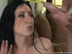 Luscious Lopez gets a cumshot in her sweet juicy mouth by s big dick