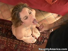 Lusty bitch Kayla Paige gets a facial from a massive cock