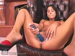 Beautiful Anetta Keys fills her slippery pussy with a rubber blue toy