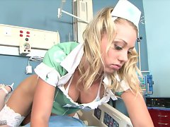 Hot sexy nurse Shawna Lenee stuffs her mouth with a stiff dick
