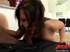 Hottie Katja Kassin gives a sloppy blowjob to a massive black dick