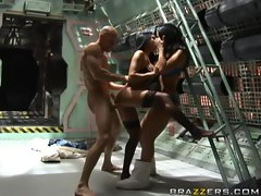 Two whores Jayden James and Audrey Bitoni get drilled in spacesuits