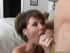 Horny MILF Kayla Synz enjoys munching on cock like it was candy