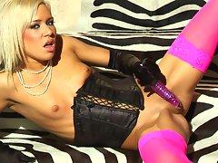 Slutty Kacey Jordan pleasures herself hard till she orgasms