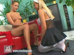 Mia Stone loves it as she licks her girlfriends pussy in her maid outfit