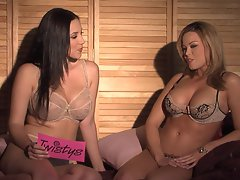 Hot babes Brea Lynn and Jelena Jensen posing in sexy lingerie