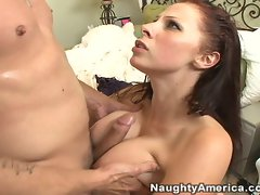A hot load of cum covers sexy Gianna Michael's huge juicy tits