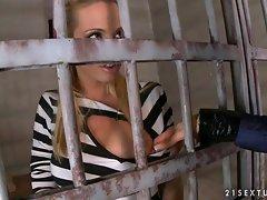 Anita Pearl as the police sucks on her prisoner's tits