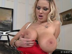 Naughty Sharon Pink gets her titties rubbed before getting rammed