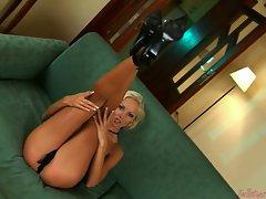 Fair-haired hottie Veronika Simon loves getting horny in her naughty nightie