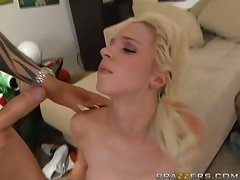 Jada Stevens gets into a cock fight with her own mouth and tongue